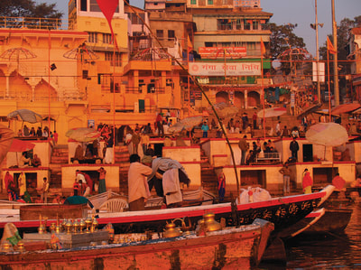 Varanasi from the water photographed by Dina Torrans